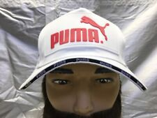PUMA Strapback Snapback Baseball Cap Hat Lid Brim Dad White w/White & Red