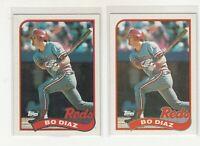 BO DIAZ 1989 Topps #422 Error/Variation Light/Dark Banner Reds 2 Versions