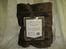 "Luxurious Soft Ultra Plush Throw with Delicately Textured Brown Pile 60""x70"" NEW"