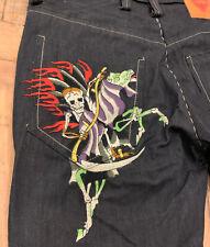 Ed Hardy Dark Wash Jeans Men 40W 34L Embroidered Skeleton Dragon