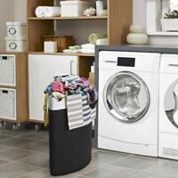 Corner Bamboo Hamper Laundry Basket Washing Cloth Bin Storage Bag Lid Black