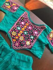 Girls Lehenga skirt choli cotton green mirrors small