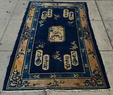 Turn of 20Th Century Oriental Rug Handmade China Peking Region Dark Blue & Creme