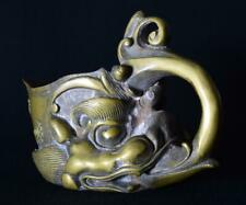 More details for antique 19thc chinese brass libation pourer with dragons head