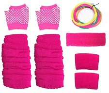 Neon Pink Gloves, Sweatbands, Headband, Leg Warmers, Bangles - 80s 80's Outfit