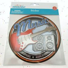 Music Guitars Amps Sign Wall Sticker ~ 6.5 x 6.5 inch ~ Peel and Stick ~ Decor