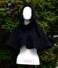 Damen Herren Gewandung Mittelalter Reenactment LARP Gugel 100% Wolle schwarz