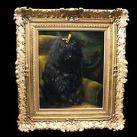 Original antique oil painting on canvas portrait of dog poodle 19th
