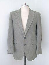 VGC Vtg Miller Gray Herringbone Tweed Western Blazer Jacket Suede Elbow Patch 42