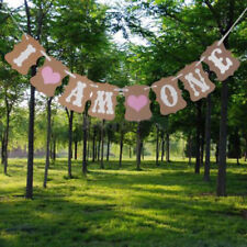 I Am One 1st Birthday Anniversary Parties Bunting Banner Baby Girls Decorations