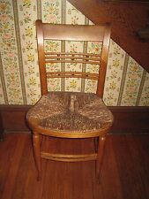 Antique Ladder Back Chair With Woven Seat