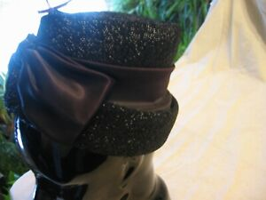 vintage womans hat Cloche style black union made # 95368