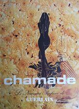 1970 GUERLAIN Chamade perfume bottle nude woman art ad