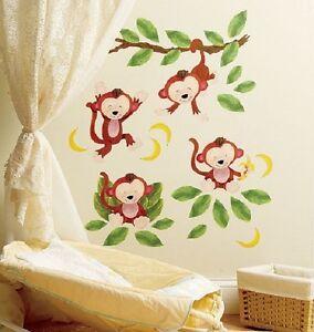 MONKEYS WALL DECALS Baby Nursery Stickers Kid Room Monkey Decor