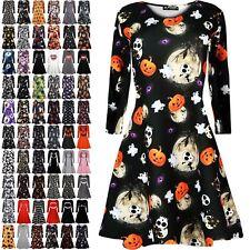 Ladies Womens Halloween Costume Swing Skater Pumpkin Skeleton Smock Mini Dress