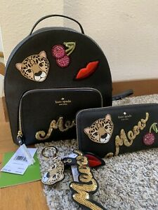 Kate Spade Leopard Cat Run Wild Leather Backpack Wallet Coin Purse Keychain New