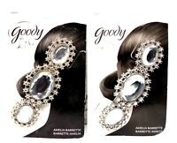 2 GOODY Luxe Silver Tone & 3 Gem Amelia Barrette New On Card
