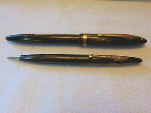 Vintage Sheaffer White Dot Lifetime Brown Striped Fountain Pen Pencil