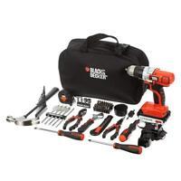 BLACK+DECKER Cordless 20V MAX Drill Multi-Tool Combo Kit w/ 66 Hand Tools & Bag