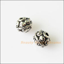 20Pcs Antiqued Silver Tone Flower Round Spacer Beads Charms 7mm