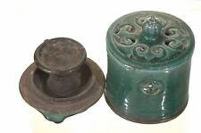 Antique Chinese Green Ceramic Pottery Oil Lamp w Cover, Qing Dynasty, 19th c
