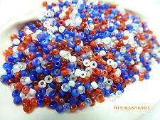 8/0 Fourth of July Mix Miyuki Glass Round Seed Beads 10 Grams