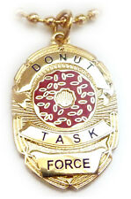 DONUT TASK FORCE Police SWAT Sheriff CIA Badge PENDANT NECKLACE w/ CHAIN