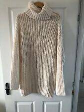 Zara High Neck Chunky Knitted Dress Size Medium Cream