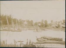 Indochine, Vue d'un port, ca.1900, vintage citrate print Vintage citrate pr