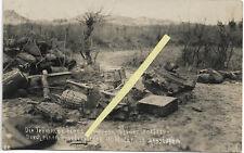 Schlachtfeldfoto v. 1917 zerstörter schw.Minenwerfer m.Besatzung