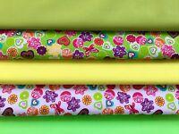 4 Diseños 100/% Tela De Algodón Cuarto gordo Flores Acuarela paquetes