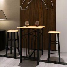 Breakfast Bar Table Set Dining Room Furniture 2 Tall Stools Modern Metal Kitchen