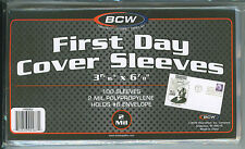 """100 New BCW 2-mil U.S. First Day Cover Poly Sleeves 3-15/16"""" x 6-7/8"""""""