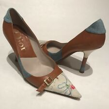 Christian Dior Brown Leather W/ Silk Pointy Toe Buckle Strap Heels Pumps Size 36