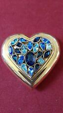 New listing Vintage Ysl Yves Saint Laurent Blue Crystal Jewel Heart Compact (Powder Unused)