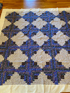 """Vintage Handmade LOG CABIN QUILT TOP-Perfect Condition-Gorgeous Blues-86"""" Square"""