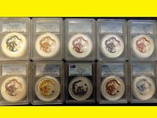 2012 COLORIZED SILVER DRAGON D ONLY 10X 1 OZ COMPLETE RARE SET PCGS MS 70 OGP