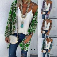 Women Casual Summer Floral Print Long Sleeve Cardigan Tops Loose Sun Cover ups