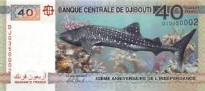 DJIBOUTI 40 FRANCS 2017 UNZ COMM AB PREFIX | SHARK CORALS | BANKNOTE UNC