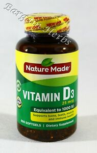 Nature Made Vitamin D3 1000iu 650 Softgels New Free Shipping Exp:03/2023