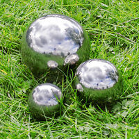 Set of 3 Silver Mirror Garden Spheres Stainless Steel - 6.5, 9 & 13 cm