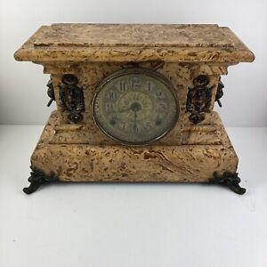 Antique SETH THOMAS 1880 Adamantine Faux Marble Mantle Clock Lion PARTS REPAIR