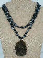 2-Strand Snowflake Obsidian Nugget Chip Carved Agate Pendant Necklace