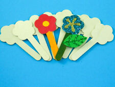 Craft Sticks FLOWERS X 10 (12cm) wooden   Arts and Crafts  Children Kids