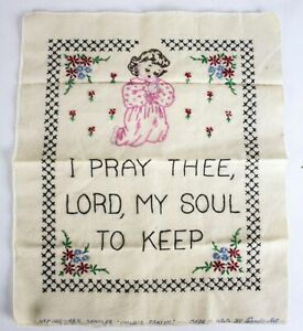 Finished Child's Prayer Sampler Cross Stitch Religious Embroidery Unframed Exc.