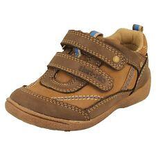 Boys Startrite Brown Leather Riptape strap Shoe UK 4.5 F Fit SR SUPER SOFT LEO