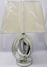 Sparkly Silver Diamond Crystal Strip Circles Table Lamp Black or White Shade