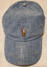 POLO RALPH LAUREN Mens Cotton CHAMBRAY Baseball Cap Sport Hat, Blue Chambray NWT