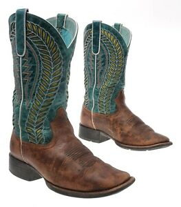 ARIAT Cowboy Boots 7.5 B Womens Square Toe Oiled Leather Rodeo Western Boots