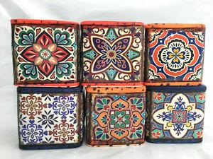 Set of 6 Medium Patterned Ceramic Pot Cacti Succulent Square Plant Pot Decor
